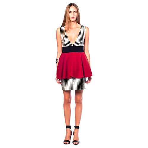 Karahasan's Kırmızı Siyah Beyaz Çizgili Elbise