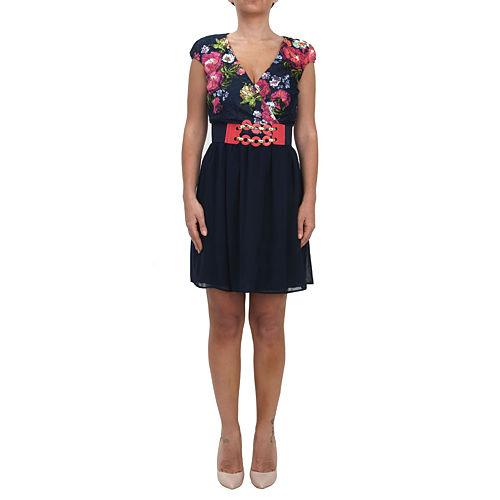 KeiKei Çiçekli Lacivert Elbise