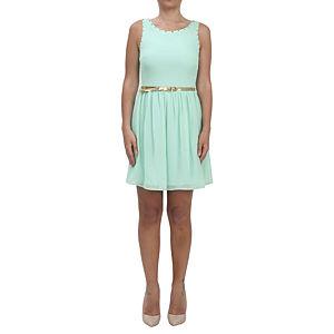 KeiKei Dore Kemerli Su Yeşili Elbise
