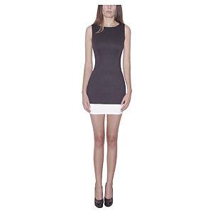 Kraviech Eteği Beyaz Siyah Kraviech Mini Elbise