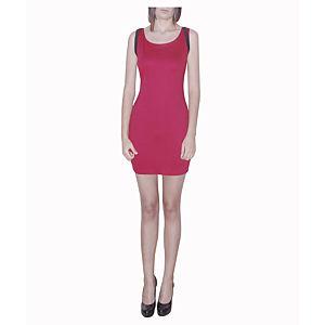 Kraviech Kırmızı Omuzu Şeritli Mini Elbise