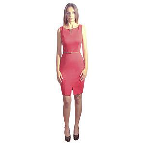 Kraviech Kırmızı Yaka ve Etek Yırtmaçlı Elbise