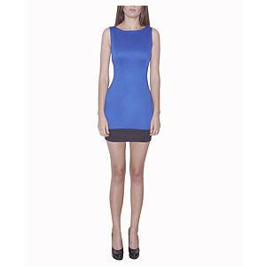 Kraviech Mavi Siyah Şeritli Mini Elbise