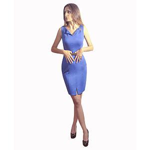 Kraviech Mavi Yaka ve Etek Yırtmaçlı Elbise