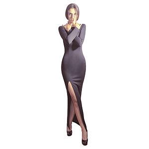 Kraviech Siyah Derin Yırtmaçlı Uzun Elbise