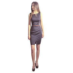 Kraviech Siyah Önden Yırtmaşlı Kraviech Elbise