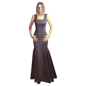Kraviech Siyah Uzun Sırtı Açık Elbise