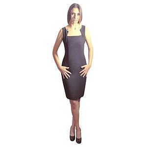 Kraviech Siyah Yaka Kenarları Üçgen Elbise