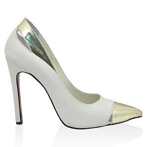 LeSille Beyaz Deri & Dore Ayna Deri Stiletto Ayakkabı