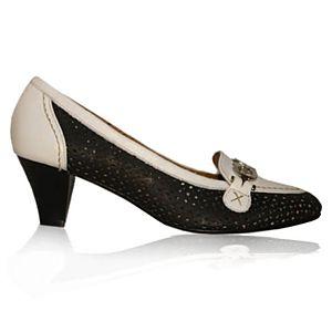 LeSille Beyaz & Lacivert Deri Önü Tokalı Delikli Ayakkabı