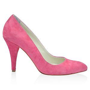 LeSille Fuşya Süet Alçak Stiletto Ayakkabı