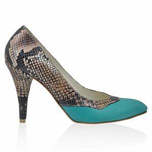 LeSille Kahverengi Yılan Baskılı Deri & Mint Yeşili Deri Stiletto Ayakkabı