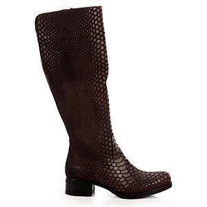 LeSille Kahverengi Yılan Derisi Baskılı Basic Topuklu Çizme