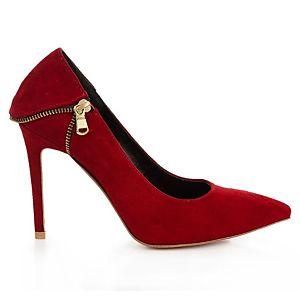 LeSille Kırmızı Süet Fermuarlı Stiletto Ayakkabı