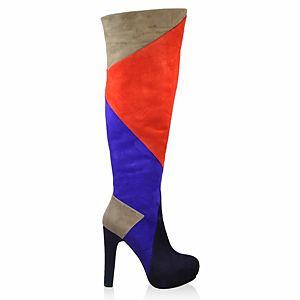 LeSille Lacivert & Gri & Kırmızı & Saks Mavi Süet Patchwork Çizme
