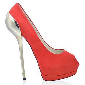 LeSille Narçiçeği Süet Galvaniz Topuklu Çift Platformlu Ayakkabı