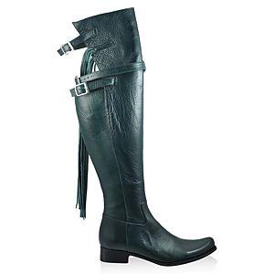 LeSille Nefi Yeşili Püsküllü Diz Üstü Çizme