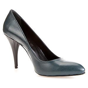 LeSille Petrol Yeşili Deri Alçak Stiletto Ayakkabı