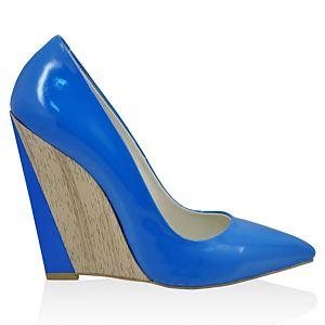 LeSille Saks Mavi Rugan Sivri Burun Dolgu Topuk ayakkabı