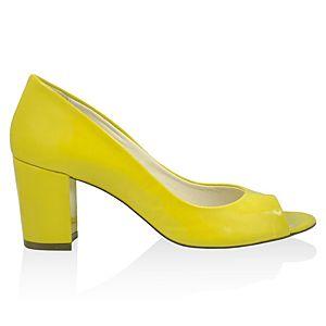 LeSille Sarı Rugan Basic Burnu Açık Ayakkabı