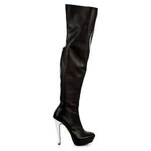 LeSille Siyah Deri Arkadan Fermuarlı Strecth Dizüstü Çizme