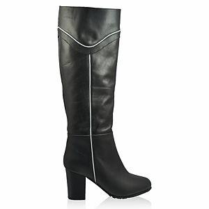 LeSille Siyah Deri Beyaz Biyeli Çizme
