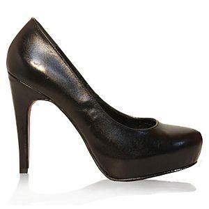LeSille Siyah Deri Düz Gizli Platformlu Ayakkabı