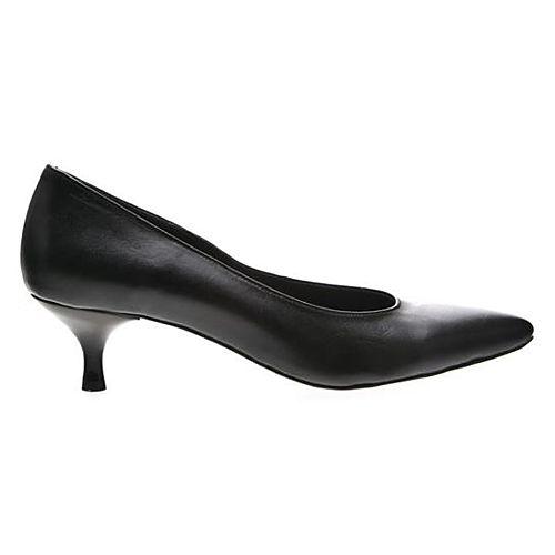 LeSille Siyah Deri Kısa Topuklu Sivri Burun Ayakkabı