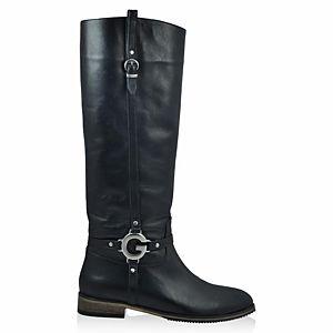LeSille Siyah Deri Yandan Tokalı & Köprülü Çizme