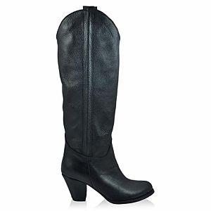 LeSille Siyah Kips Deri Dökümlü Çizme