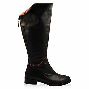 LeSille Siyah & Kırmızı Deri Polo Yakalı Arkadan Fermuarlı Çizme
