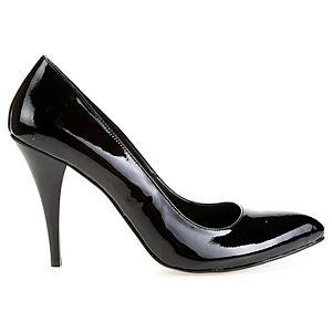 LeSille Siyah Rugan Alçak Stiletto Ayakkabı