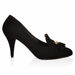 LeSille Siyah Süet Dilli Püsküllü Ayakkabı