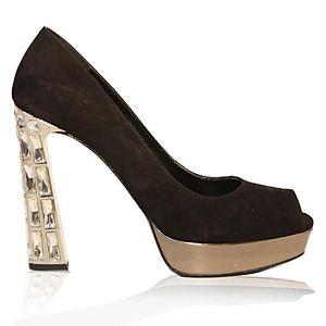 LeSille Siyah Süet Swarovski Taşlı Yüksek Metal Topuklu Ayakkabı