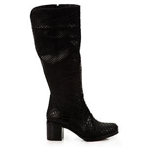 LeSille Siyah Yılan Derisi Baskılı Basic Topuklu Çizme