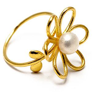 Atelier Petites Pierres Altın Kaplama Çiçek Yüzük