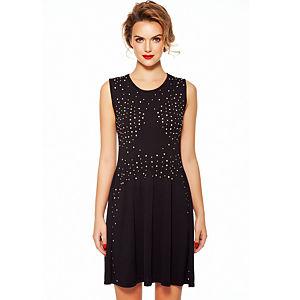 Aysquel Taş İşlemeli Siyah Elbise
