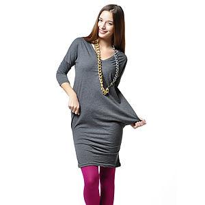 Ben&Sen V Yaka Gri Renk Mini Elbise Tunik