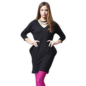 Ben&Sen V Yaka Siyah Renk Mini Elbise Tunik