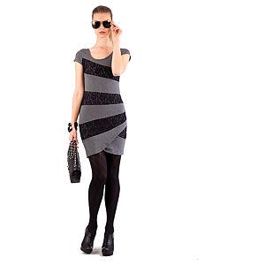 Berla Koyu Gri Üzerine Siyah Dantel Şeritli Elbise