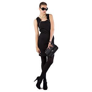 Berla Siyah Fermuarlı Elbise