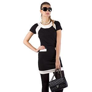 Berla Siyah Üzerine Beyaz Cepli Elbise