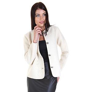 Berna Ulutaş Berna Ulutaş Tasarım Ekru İşlemeli Ceket
