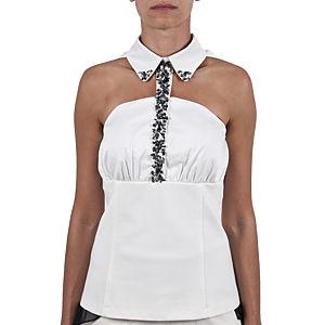 Berna Ulutaş Swarovski / Beyaz Mercan İşli Beyaz Gömlek
