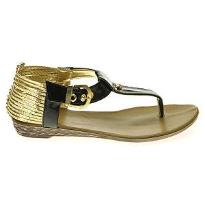 Colour Steps Altın Rengi Bantlı Siyah Sandalet