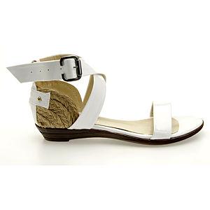 Colour Steps Beyaz Rugan Hasır Topuk Sandalet