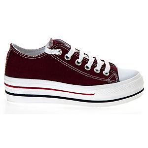 Colour Steps Bordo Yüksek Taban Beyaz Burun Ayakkabı