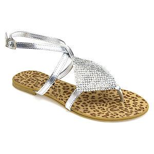 Colour Steps Gümüş Renkli Bilekten Bantlı Işıltılı Sandalet