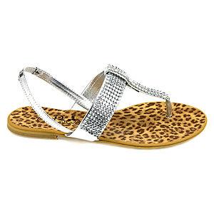 Colour Steps Gümüş Renkli Pırlanta Taş Süslemeli Sandalet