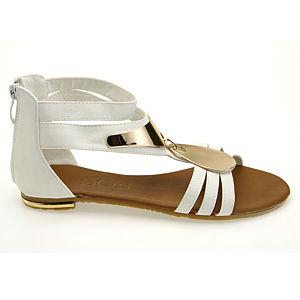 Colour Steps Şık Beyaz Deri Altın Detaylı Sandalet